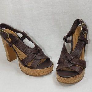 Gianni Bini Brown Leather Platform Sandals Size 7